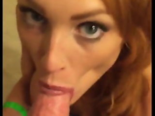 Redhead tastes cum while sucking cock tastes