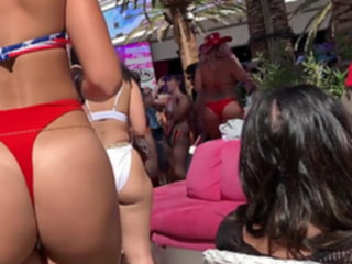 The Hottest thong ass at bikini pool party ! thong